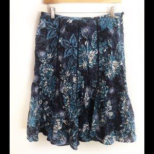 Chico's Skirt Blue White Floral A-Line Sz. 1 8/10